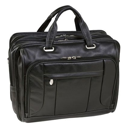 The River West Leather 17 Inch Fly Through Laptop Case