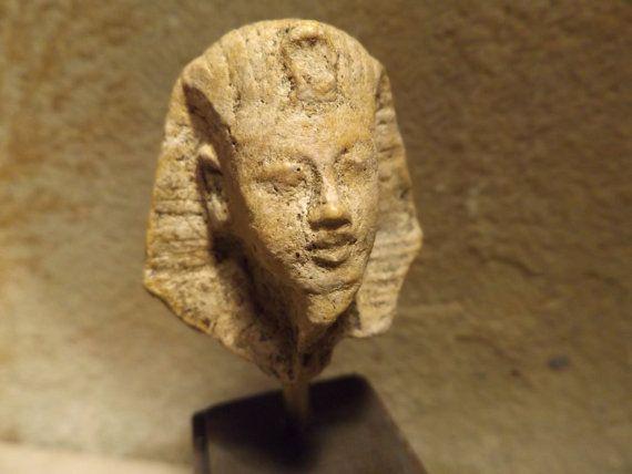Egyptian statue bust replica fragment of King Tutankhamun 18th dynasty. Post Amarna period art
