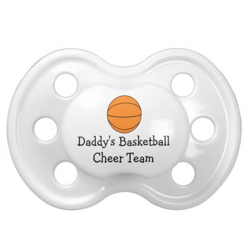 Basketball Sport Daddys Cheer Team Baby Pacifiers This cute basketball pacifier features a basketball and the text Mommy's Cheer Team. Leave text or change if you like. Can also be used for mom, dad, brother or sister. Great for babies, infants, toddlers or kids of a player who are out to coach and cheer dad or mom for the game