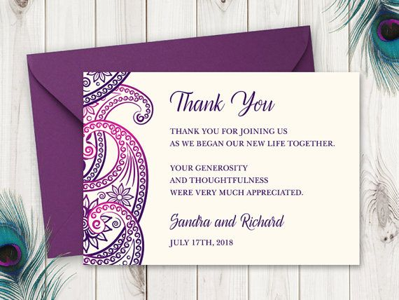 28 best Indian Wedding Invitation Templates  - wedding thank you note