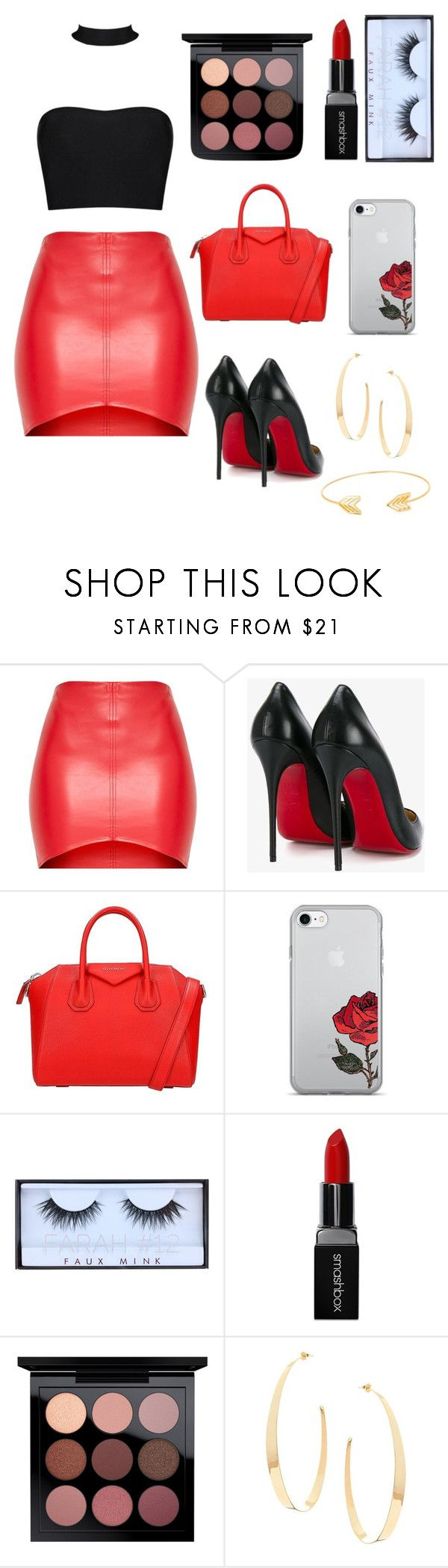 """""""Leather skirts and red lips 💋"""" by fashionqueenie1 ❤ liked on Polyvore featuring Christian Louboutin, Givenchy, Huda Beauty, Smashbox, Lana and Lord & Taylor"""
