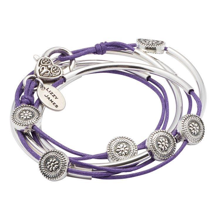 "Lilly Wrap in Cotton Cord Silverplate Small Bracelet Necklace with Purple Cotton Cord Wrap by Lizzy James. Two Leather Strand Wrap Bracelet That Can Be Worn As A Wrap Bracelet & Necklace. FOR SIZING YOUR WRIST: If the string measures 5 7/8"" - 6 1/8"" without slack - your size is Small. Great Gift For Mother's Day, Graduations, Anniversaries, Birthdays, Christmas, Valentine's Day, Girlfriends, Moms, Grandmothers, Significant others, and more. Please Allow For Slight Leather Color Variation…"