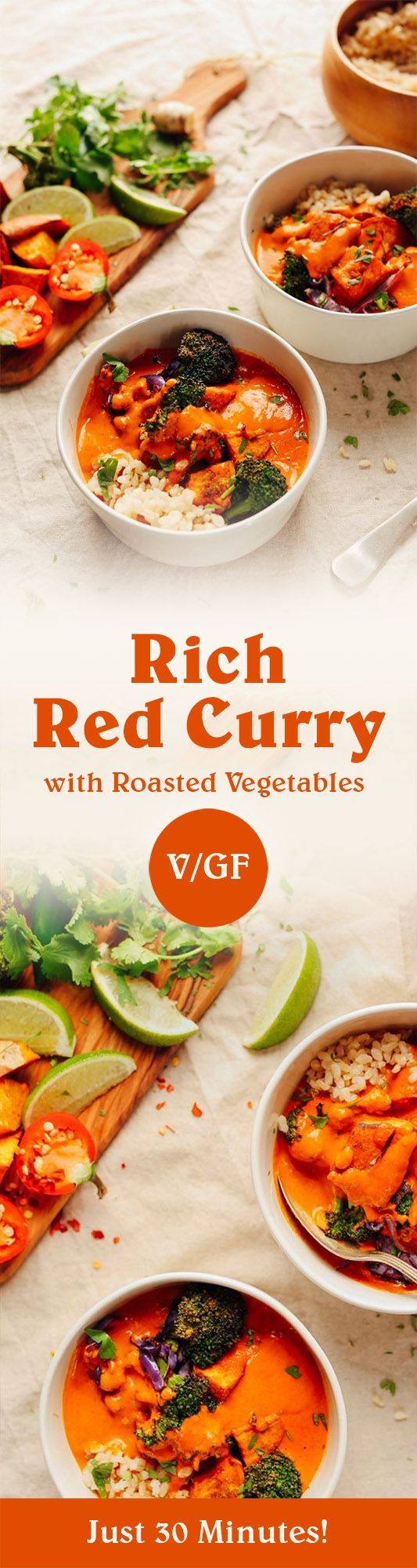 There's nothing more satiating than rich coconut milk and red pepper-based curry with roasted vegetables.