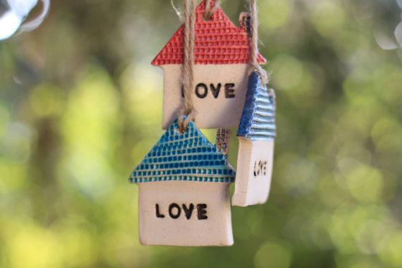 Love house ornament Wall ornament  Holidays decor by orlydesign