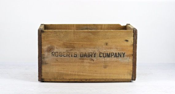 Vintage Wood Crate Roberts Dairy Company Wood by HuntandFound