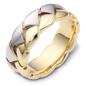 Men S Braided Two Tone Gold Band Men S Wedding Rings