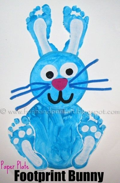 Foot print Bunny! Adorable and easy.    #kidscrafts #rabbits #kids #children #painting #hand and feet kid crafts for kids by jacquelyn