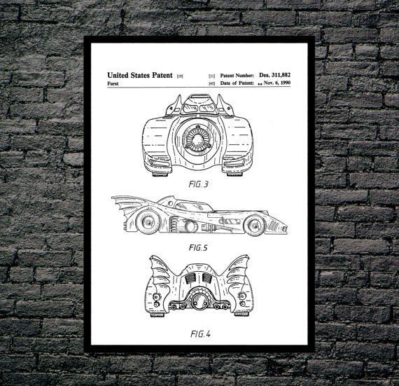 Batman Batmobile Print, Batman Batmobile Patent, Batman Batmobile Poster, Batman Batmobile Art, Batman Batmobile Decor, Batman Batmobile by STANLEYprintHOUSE  0.79 USD  This is a vintage patent print. The Batman Batmobile from 1992.  This poster is printed using high quality archival inks, and will be of museum quality. Any of these posters will make a great affordable gift, or tie any room together.  Please choose between different sizes and colors ..  https://www.etsy.com/ca/list..