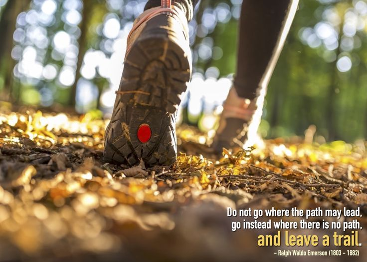 Do not go where the path may lead; go instead where there is no path and leave a trail.  - Ralph Waldo Emerson (1803-1882)