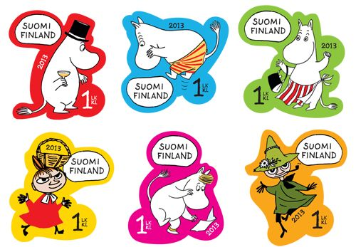 Finland's 2013 Moomins stamps, based on characters from the Tove Jansson comics.