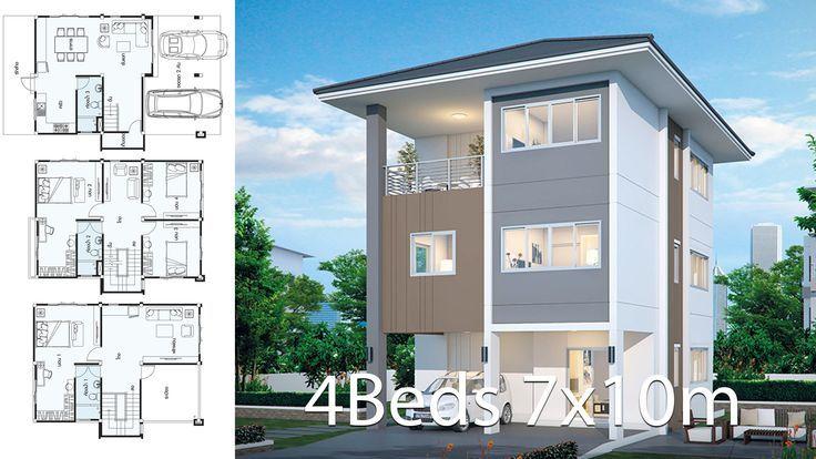 House Design Plan 7x10m With 4 Bedrooms Duplex House Design House Design Home Design Plans