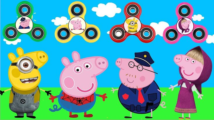 Peppa Pig Wrong Dress FIDGET SPINNERS Masha Spiderman Police Baby Learn ...