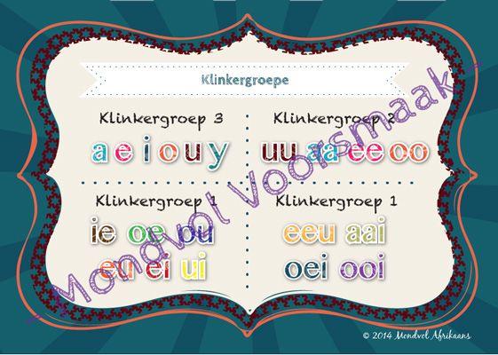 Klanke se opsomming volgens die klinkergroepe.  Beskikbaar op http://teachingresources.co.za/vendors/mondvol-afrikaans/