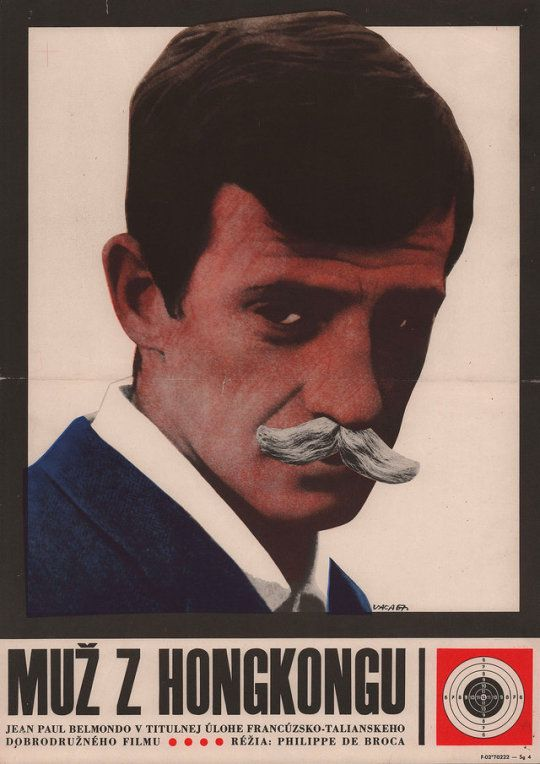 1967 Czech poster for UP TO HIS EARS (Philippe de Broca, France, 1965)