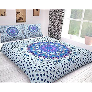 Popular Feather Tribal Peacock Mandala Comforter Cover Twin Bedding Throw Indian Handmade Duvet Cover Reversible Bohemian