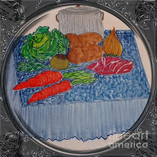 Newfoundland Jiggs Dinner - Porthole Vignette by Barbara Griffin. This vintage traditional Newfoundland Jiggs Dinner scene is a drawing on fabric of the ingredients for a Newfoundland style Boiled Dinner. Everything necessary is out on a table ready to be cleaned and put in the pot to cook.