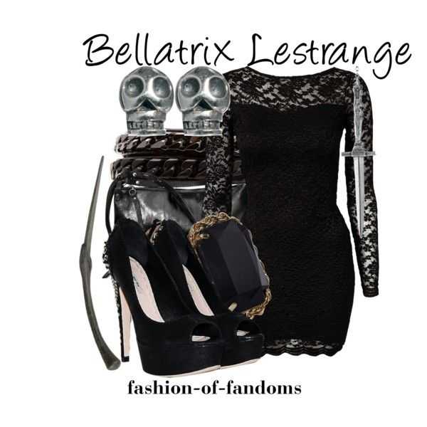 Bellatrix Lestrange by fofandoms on Polyvore featuring John Zack, Miu Miu, Ina Kent, Monsoon, Vita Fede, Fashionology, Pamela Love and Bellatrix