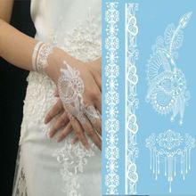 1ks New Indian arabský White Henna Tattoo Paste Lace vzory svadobné nevesta obojok tetovanie Trendy prevoditeľný tetovanie nálepka (Čína (pevninská časť))
