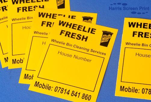 Heavy Duty waterproof stickers printed for wheelie bin cleaning company