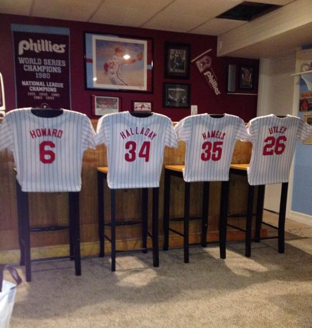 Phillies man cave ...   Phillies jersey shirts bar stools ... sports home decor
