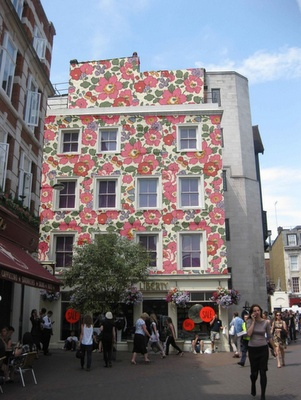 Liberty fabric building wrap - Carnaby Street entrance to Liberty's London store.