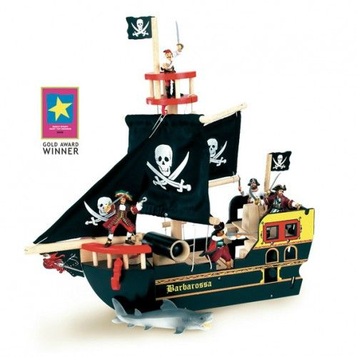 Barbarossa Pirate Ship   Enjoy a series of adventures with this painted wooden ship featuring fabric sails and skull motifs. Figurines are sold separately.