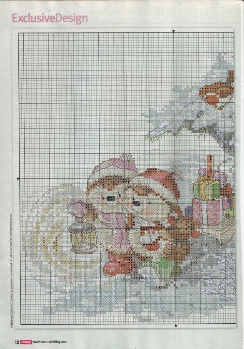 Christmas Hedgehog cross stitch 1