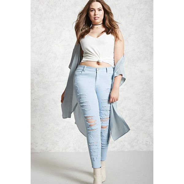 Forever21 Plus Size Distressed Jeans ($33) ❤ liked on Polyvore featuring jeans, light blue, white ripped skinny jeans, white jeans, light blue ripped jeans, denim skinny jeans and mid rise skinny jeans