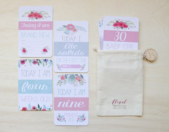 Moment and Milestone Cards  Baby Girl Floral by BlossomAndPear