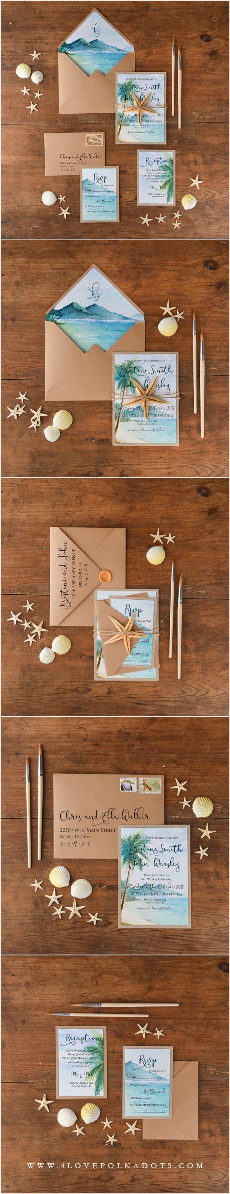 Beach Wedding Invitations with Starfish #beachwedding #sea #starfish #watercolor #destinationwedding