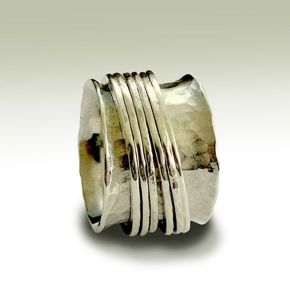 Bande d'inisex bague en argent d'empilage bande ringwide filateurs, bande argentée, anneau de méditation, anneau, anneau unisexe, en argent sterling - chute libre