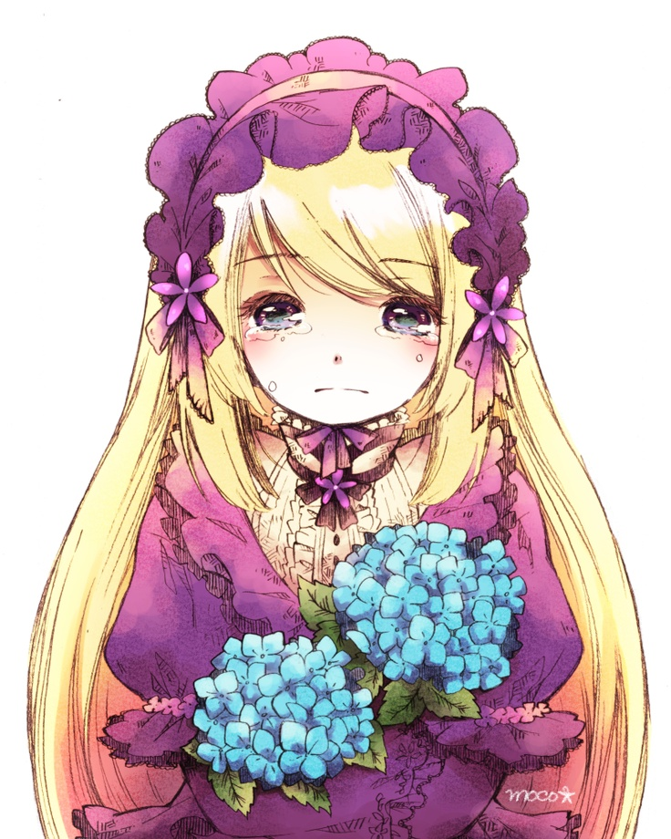 anime girl with flowers crying Pretty anime style pics
