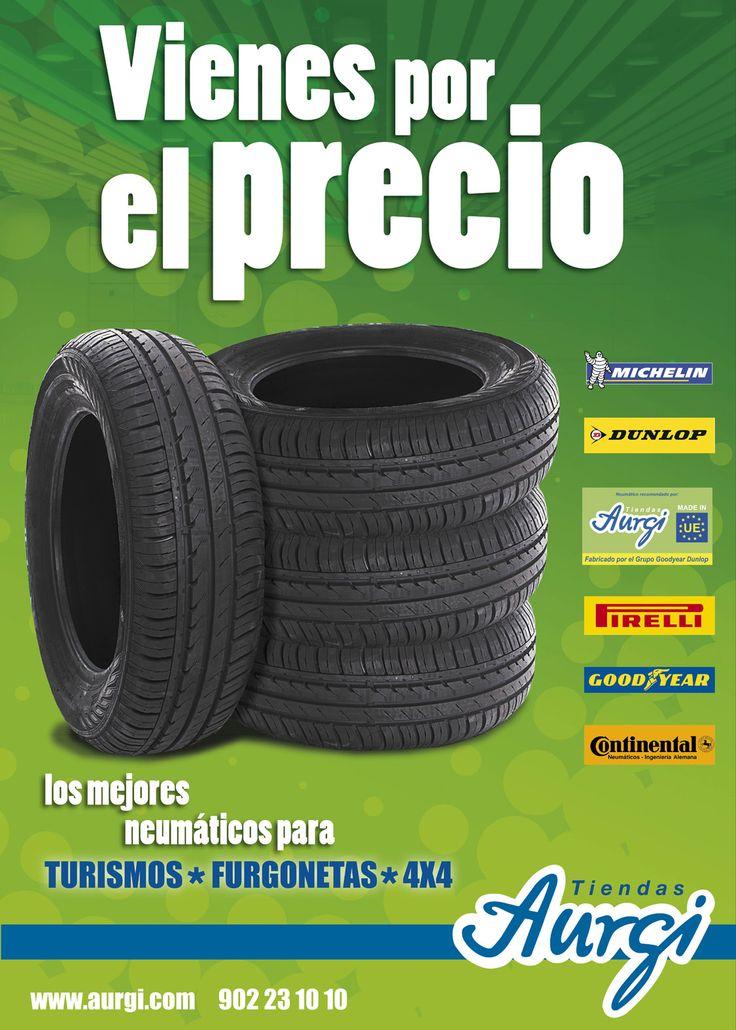 Neumáticos para vehículos: Turismo, furgonetas y 4x4. Más info en http://www.aurgi.com/index.php/productos-y-servicios/28-productos-y-servicios/1-neumaticos