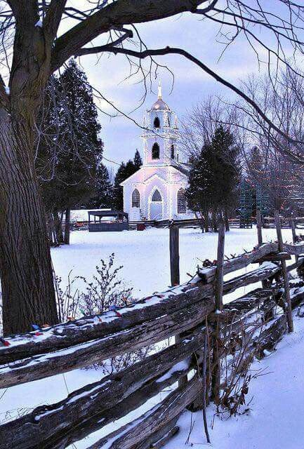 ♡ Winter snow, country Chappel Church ⛪