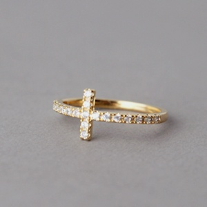 CZ SIDEWAYS CROSS RING GOLD SIDE CROSS STACKABLE BAND CROSS JEWELRY by kellinsilver