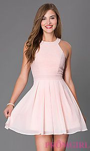 Buy Short Sleeveless Fit and Flare Dress 6905742X9I at PromGirl