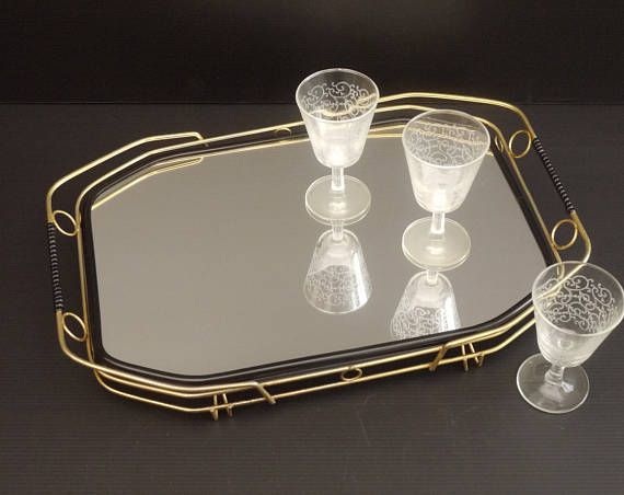 French Vintage Art Deco Rectangle Mirrored Serving Tray