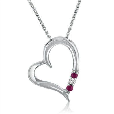 Three- Stone Ruby and Diamond Heart Pendant-Necklace set in Sterling Silver -18 inch - $29.95