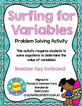 This activity asks students to solve equations to determine the value of variables. It has 26 equations. Most questions are paired with a word problem that teaches a student a ocean/ surf related fact when solved correctly. Equations vary in difficulty and may include parenthesis, brackets, and ten power