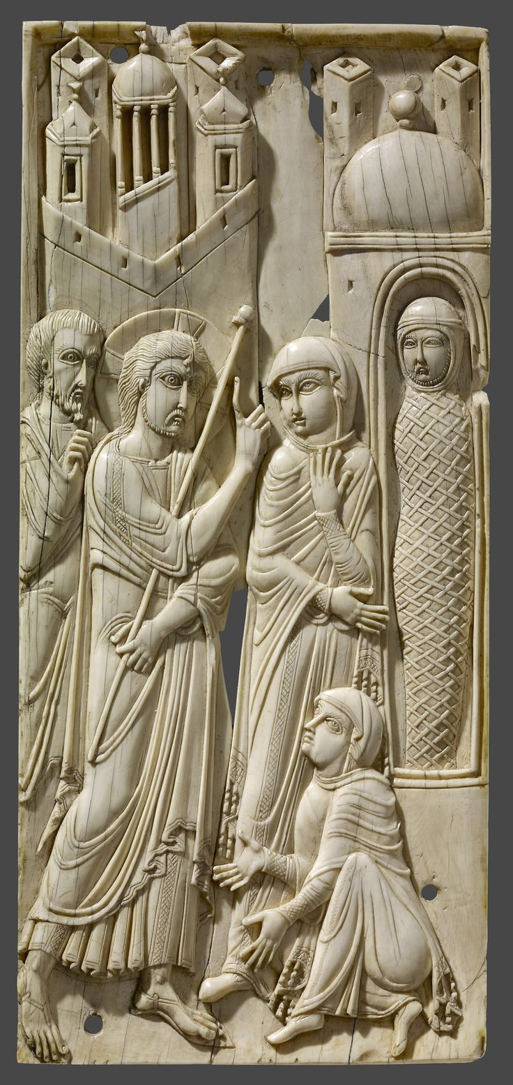 Ivories of the So-Called Grado Chair: Raising of Lazarus, 7th–8th century,  Made in Eastern Mediterranean or Egypt, 19.5 x 8.8 cm | The British Museum, London