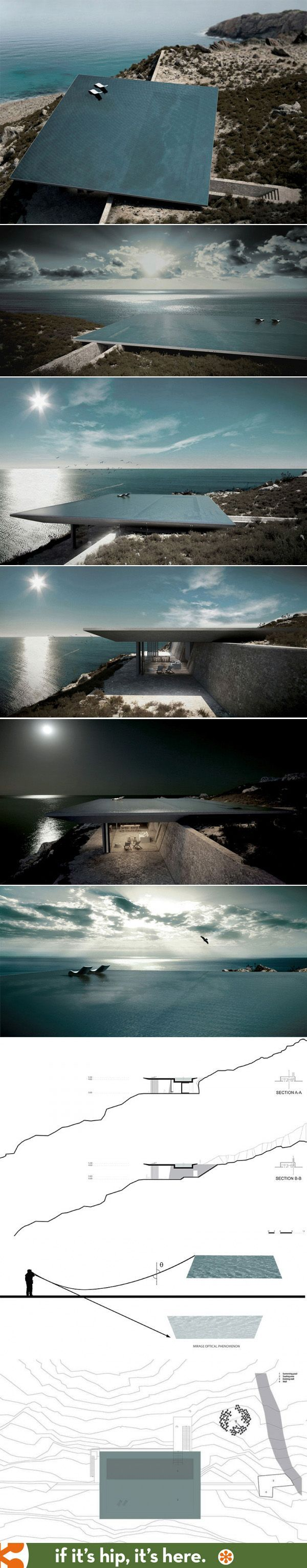 Rimless pool serves as a roof for the Mirage House in Greece by Kois Architects: