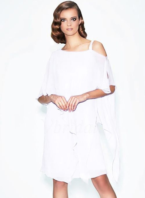Mother of the Bride Dresses - $149.25 - A-Line/Princess One-Shoulder Knee-Length Chiffon Mother of the Bride Dress With Ruffle Beading (0085130991)