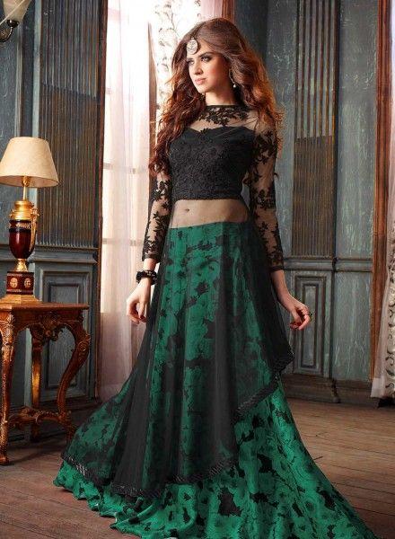 Green designer Indian wedding wear lengha with long black choli H16294