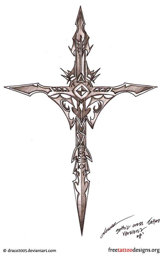 Gothic Cross Tattoo Design Tattoo Stuffs Pinterest