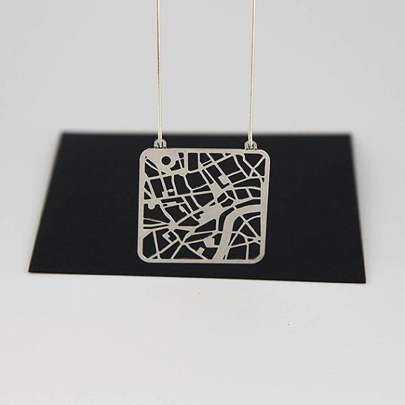 London Map Necklace - Street Map of London Pendant in Silver or Gold ...Florence?