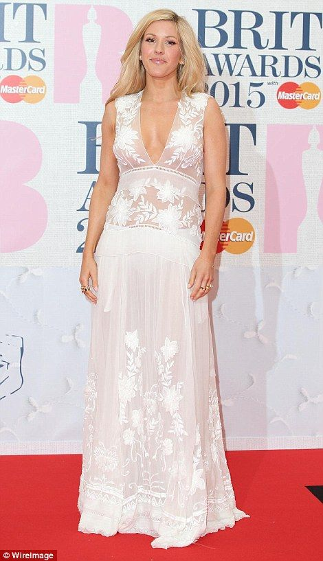 Ellie Goulding looks wedding ready in white at the BRITs 2015
