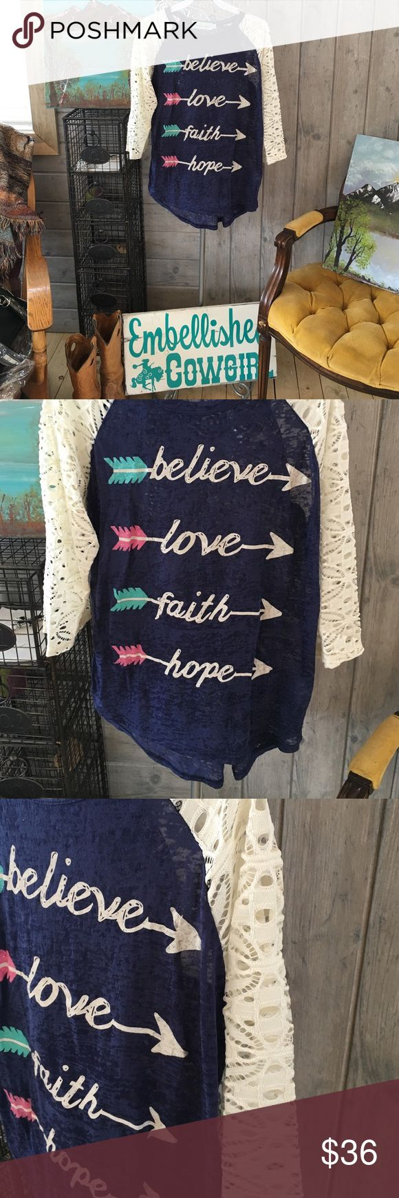 Burnout tee top with graphics and sayings Cute lace sleeve top with graphics and sayings. Fits true woman boutique and will have our tags attached embellished cowgirl sg Tops Tees - Long Sleeve