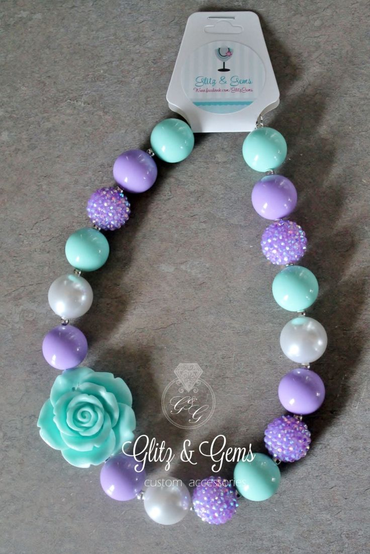 Chunky Bubble Gum Bead Necklace Purple Aqua White Rhinestone www.facebook.com/GlitzGems