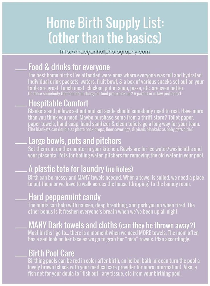 Home birth supply list. For future reference.