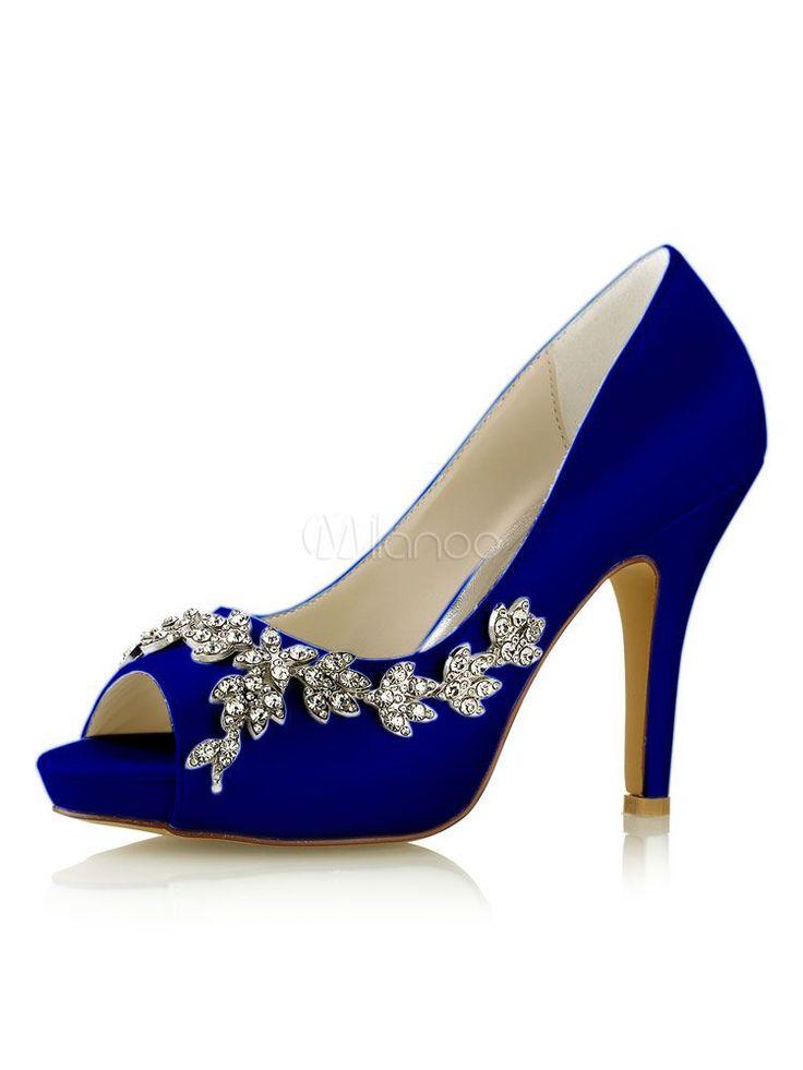 Women Wedding Shoes Ivory Bridal Shoes Peep Toe Rhinestones Slip On High Heels #weddingshoes